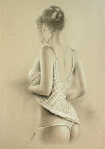 Sexy Dessous Photorealism Pastel drawing