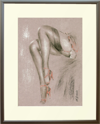 Sexy in High Heels Erotic Women Pastel Drawing