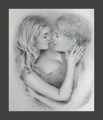 Love whispers Erotic couples Pencil drawing