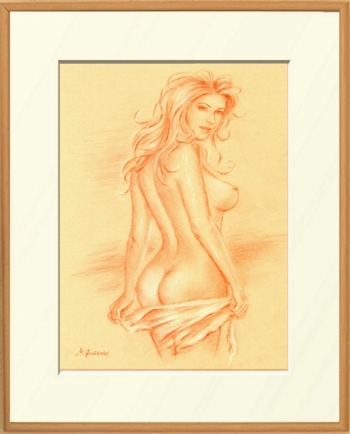 Naked Love Goddess Erotic Pastel Painting