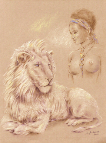 Lion shaman Pastel drawing erotic