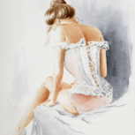 Sexy Woman in Lingerie, Erotic watercolor painting