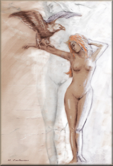 Nude Art Woman handpainted